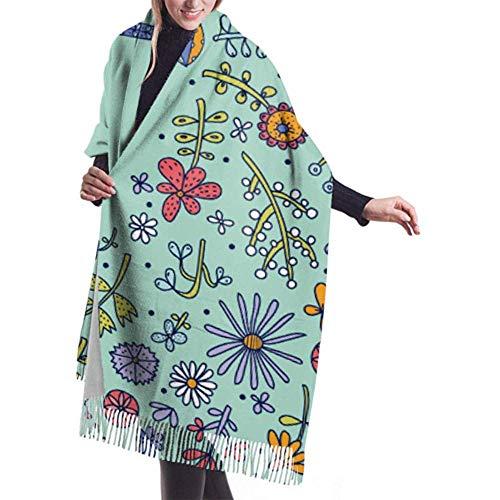 Bufanda de invierno Cachemira Sensación Regadera Flores Postal de primavera Bufandas vintage Chales elegantes Envolturas Suaves mantas cálidas Bufandas para mujeres