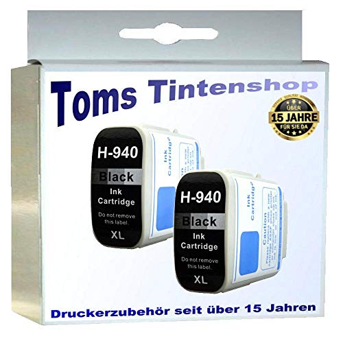 2 Patronen schwarz für HP 940 XL Black m. Chip Füllstandsanzeige XL...