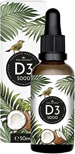 Vitamin D3 - Laborgeprüfte 5000 I.E. pro Tropfen - 50ml (1750 Tropfen) - in MCT-Öl aus Kokos gelöst - Ohne Zusätze - in Deutschland produziert