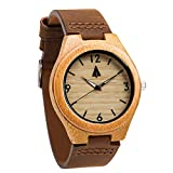 Treehut Men Wood Watch Classic Collection Quartz Analog with Brown...