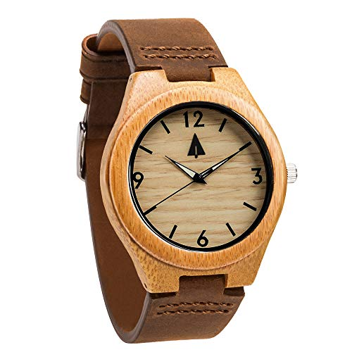 Treehut Men Wood Watch Classic Collection Quartz Analog with Brown Leather Band