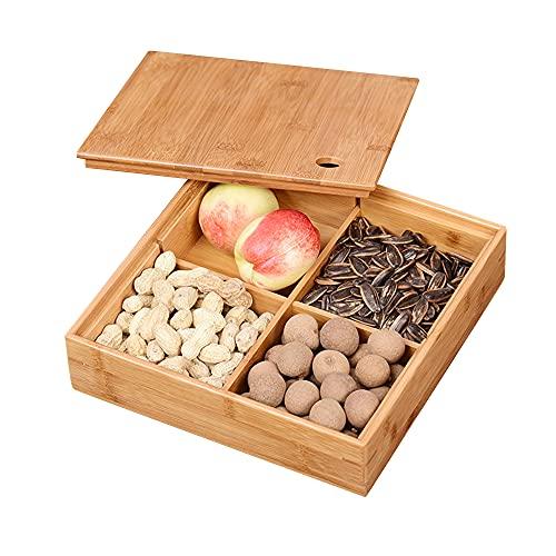 Caja de Dulces Bandeja de bambú para Servir Alimentos con 4 Rejillas de Comedor Nueces Plato de Almacenamiento de Frutas de Postre para Fiestas, Familiares, Amigos