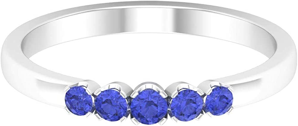 Art Deco Wedding Ring, Round Shaped 1/4 CT Tanzanite Ring, Unique Eternity Band, Blue Gemstone Band Ring, December Birthstone Stackable Ring, 14K Gold