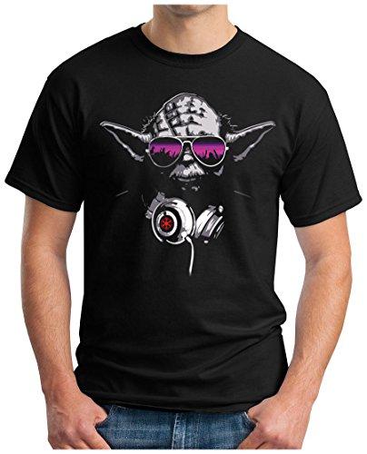 OM3® - DJ-YODA - T-Shirt Jedi Ritter Turntables Music Rave House Indie Trance Techno Geek, L, Schwarz