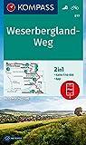 KOMPASS Wanderkarte Weserbergland-Weg: 2in1 Wanderkarte 1:50000 inklusive Karte zur offline Verwendung in der KOMPASS-App. Fahrradfahren (KOMPASS-Wanderkarten, Band 819)