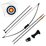 Outdoor Youth Recurve Bow and Arrow Set Children Junior Archery Training Toy for Kid Teams Game Gift (16LB,4×Arrows,5×Target Faces)