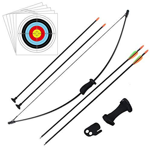 DOSTYLE Outdoor Youth Recurve Bow and Arrow Set Children Junior Archery Training Toy for Kid Teams Game Gift (4Arrows,5Target Faces)