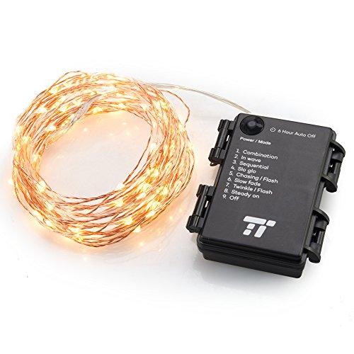 TaoTronics Girlande, Weihnachtslichter, Verwendung im Freien, 5 m, LED-Streifen, Warmweiß, Lichterkette außen/innen, batteriebetrieben, 8 Lichtmodi