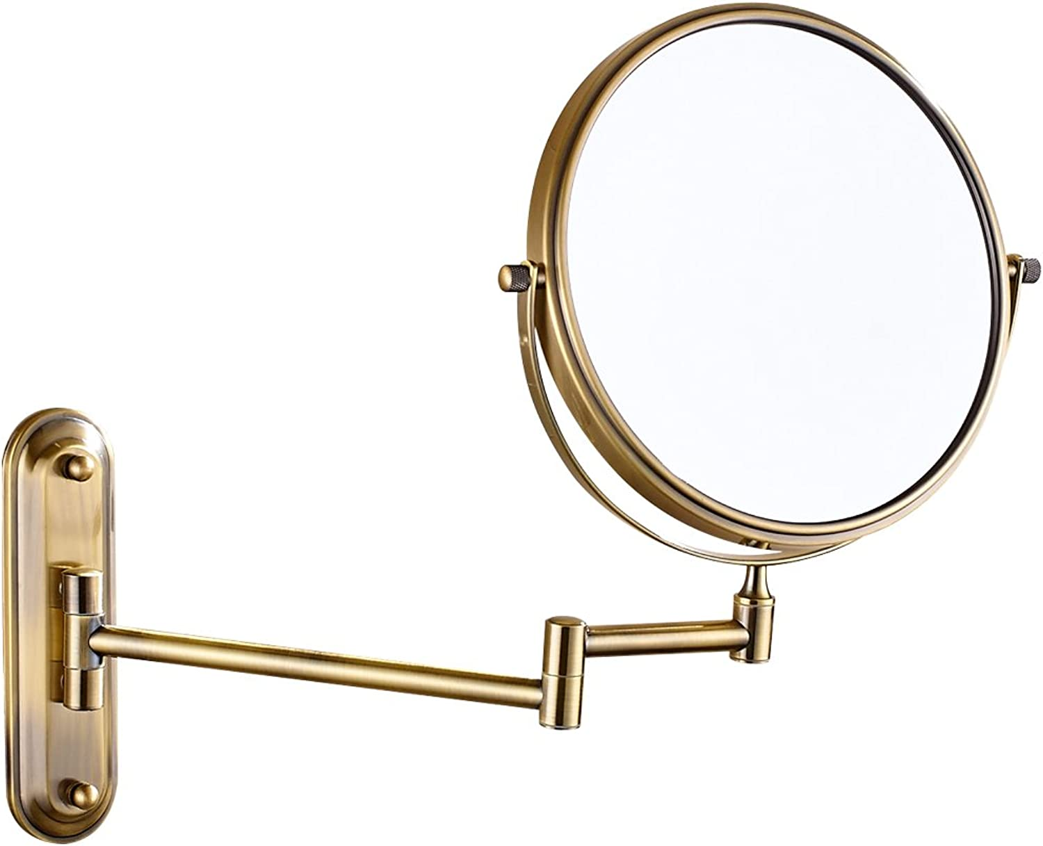 GURUN Two-Sided Swivel Wall Mounted Makeup Mirror with 10X Magnification,Antique Brass 1206K(8Inch,10X)