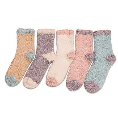 REDSTORM Flauschige Socken Koralle Fleece Schlafsocken Plüsch Slipper Socken Winter Warm Damen Mikrofaser Crew Socken 5 Paar