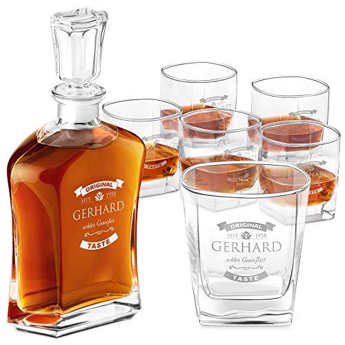 Murrano Whiskey Karaffe + 6er Whiskygläser Set mit Gravur - 700ml Whisky Dekanter - Geschenk zum Geburtstag für Männer