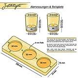 justbelight 3er-Set Glas-Teelichthalter mit Tablett | Zeitlos Schön | Elegante Tischdeko (Silber) - 7