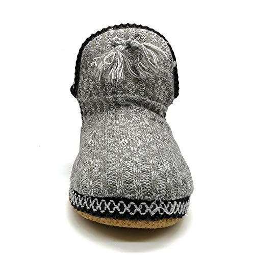 COFACE acogedora cabaña para Mujer con pompón Calientes gestrickte Zapatillas Maletero TPR Plantillas innengefüllt Zapato en 5 Colores