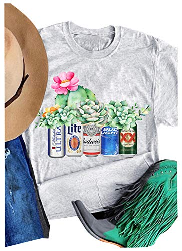 Coors Light Bud Light Funny Graphic Tees for Women Casual Retro Beer Floral Country Shirt Blouse Gray