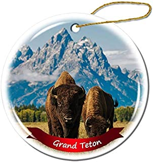 Wini2342ckey Grand Teton National Park US Wyoming Christmas Ornament Porcelain Double-Sided Ceramic Ornament,3 Inches