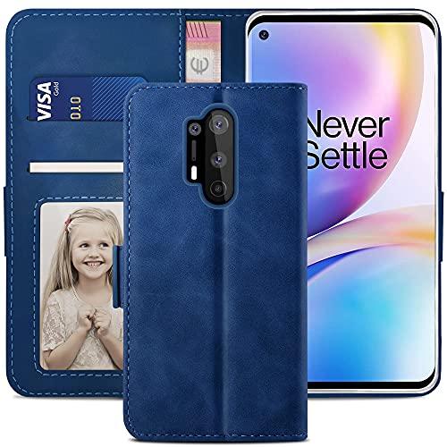 YATWIN Handyhülle Oneplus 8 Pro Hülle, Klapphülle Oneplus 8 Pro Premium Leder Brieftasche Schutzhülle [Kartenfach][Magnet][Stand] Handytasche für Oneplus 8 Pro Hülle, Blau
