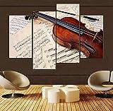 NOBRAND 4 unids/Set Abstract pict decoración del hogar Instrumentos Musicales de violín Pintura al óleo sobre Lienzo Arte de la Pared cuadros-30x60 30x80cmx2 Sin Marco