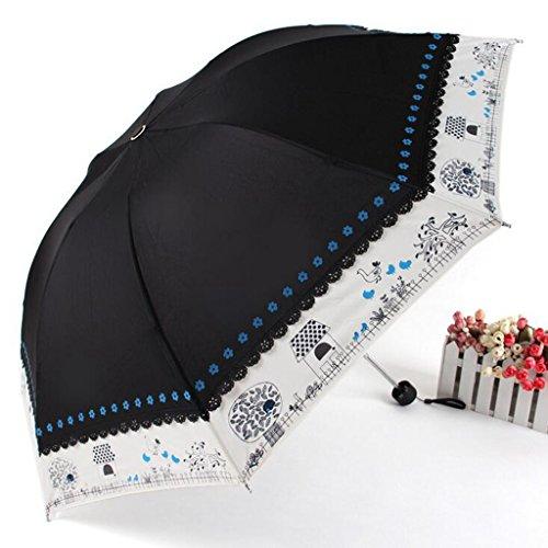 GTWP GTWP GT Regenschirm Manual Mode 3 Folding Umbrella kreativ, Blumenanordnung, das Spleißen Stockschirm Robuste Winddicht Anti-UV-Sonnenschutz Dach