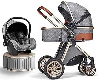 YQLWX Nyfödd vagn Barnvagn 3 i 1 Fällbar Babyvagn Resesystem med bilstol Lätt Foldvagn Footmuff Blanket Kylkudde Regnkåpa ...