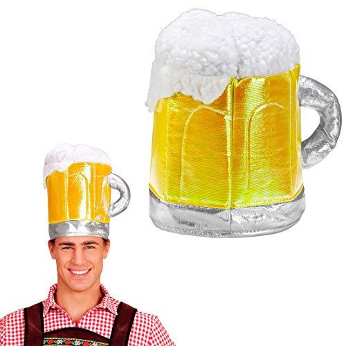Divertido Sombrero Oktoberfest Jarra de Cerveza para Adulto/Amarillo/Cómico Sombrero de Fiesta Vaso de Cerveza Fiesta de Verano y BBQ