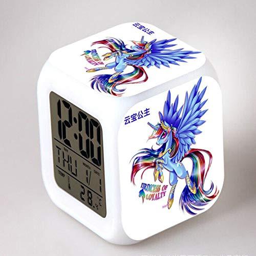 shiyueNB My Little Pony Nachtlampje LED 7 kleurveranderende digitale wekker slaapkamer wekkerklok regenboog dash reloj despertador