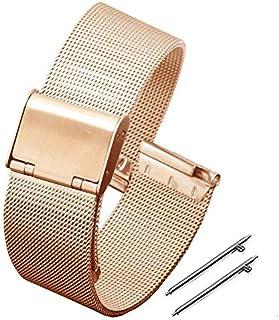 LUNIQUESHOP Bracelet de Montre 18 mm en Maille Tissée, Acier Inoxdydable bracelet libération rapide, Homme Femme
