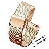 LUNIQUESHOP Bracelet de Montre 18 mm Maille Acier Inoxdydable Bracelet à Libération Rapide (18, OR ROSE)