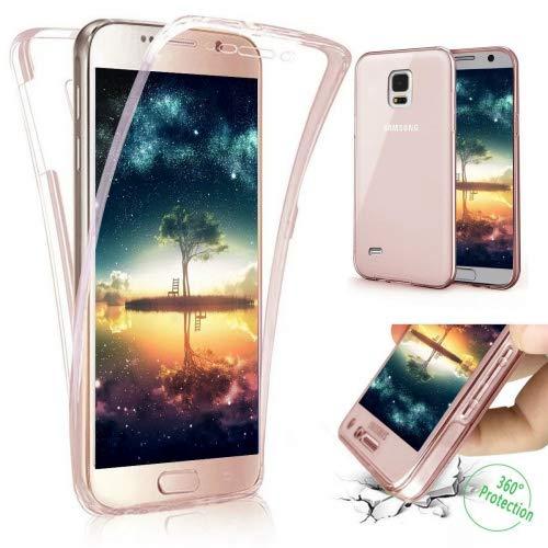 Coque Galaxy S4,Etui Galaxy S4,Galaxy S4 Case,Intégral 360 Degres avant + arrière Full Body Protection Transparente Silicone Gel TPU Souple Housse Etui de Protection Case Coque pour Galaxy S4,Or rose