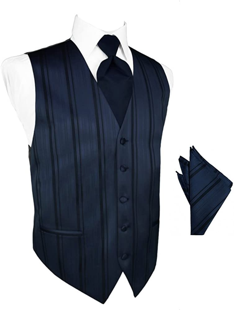 Midnight Blue Striped Satin Tuxedo Vest with Long Tie and Pocket Square Set