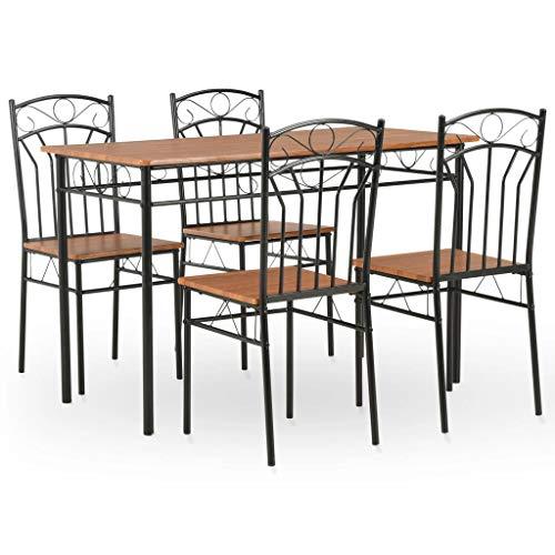 vidaXL Essgruppe 5-TLG. Esstischset Esszimmergarnitur Sitzgruppe Esszimmertisch Küchentisch Esstisch mit 4 Stühlen MDF Stahl Braun