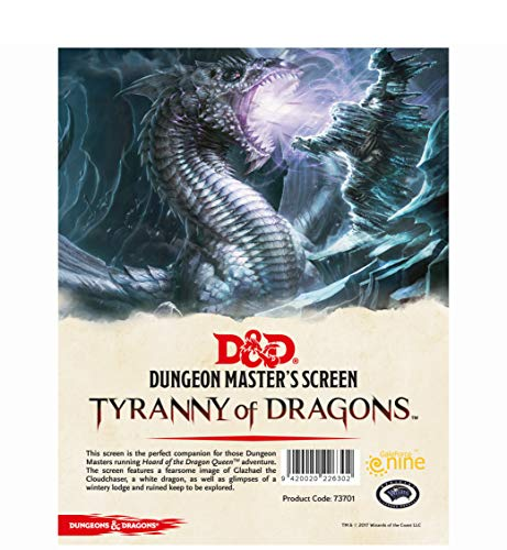 """Dungeons & Dragons - Schermo del Dungeon Master """"La tirannia dei Draghi"""""""