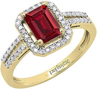 Dazzlingrock Collection 14K 7X5 MM Emerald Shape Lab Created Gemstone & Round Diamond Ladies Engagement Ring, Yellow Gold
