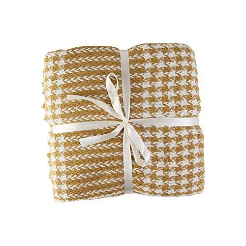 Valuax - Manta de algodón para cama (160 x 200 cm), color amarillo