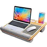 #LightningDeal HUANUO Lap Desk - Fits up to 17 inches Laptop Desk, Built in Mouse Pad & Wrist Pad for Notebook, MacBook, Tablet, Laptop Stand with Tablet, Pen & Phone Holder (Wood Grain)