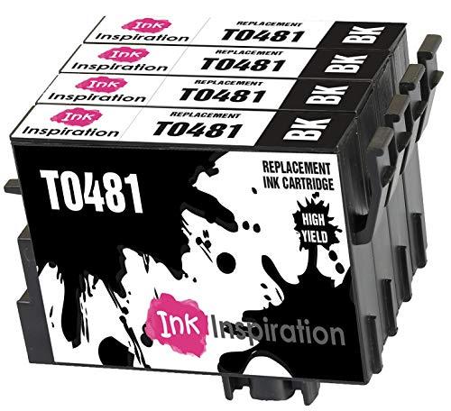 INK INSPIRATION® Ersatz für Epson T0481 Schwarz Druckerpatronen 4er-Pack, kompatibel mit Epson Stylus Photo R300 R220 R340 R200 R320 RX500 RX600 RX620 RX640