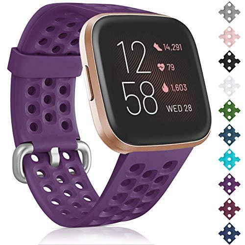 Oielai für Fitbit Versa 2 Armband/Fitbit Versa Armband, Silikon Sport Sanft Ersetzerband Frauen Männer Armband Kompatibel mit Fitbit Versa 2/Fitbit Versa Lite/Fitbit Versa, Klein Lila