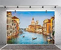 GooEoo 10x8ft 近代都市のテーマヴェネツィアの町イタリア水都市青い川建築写真背景スタジオ写真ブースブース背景家族休暇誕生日パーティー写真ビニール素材