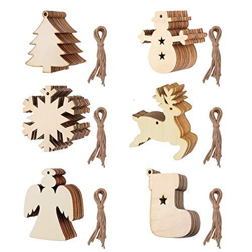 TATAFUN Colgantes de Madera para Navidad, 60 Pcs Ornamentos de Navidad, Adornos de Navidad Madera, Colgantes de Madera para Navidad Decoración del Árbol Ventana Fiesta DIY Regalo