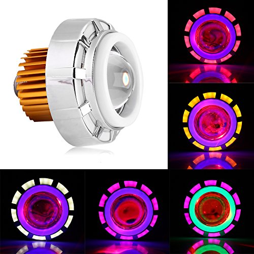 Keenso Motocicleta Fuerte/Débil luz Estroboscópica LED Faro Proyector Lente Dual Angel Devil Eye Headlamp(Verde y rosa)