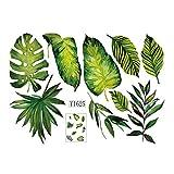 UNERVert Tropical Palm Tree Plante Feuilles Sticker Mural pour Canapé Fond Mur/Armoire/Porte Décor DIY Sticker Décoration Affiche
