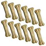 12 Huesos en Cuero de Vaca prensado. 17 cm - 80 Gramos . Un Bocadillo para los Perros. Carne prensada.