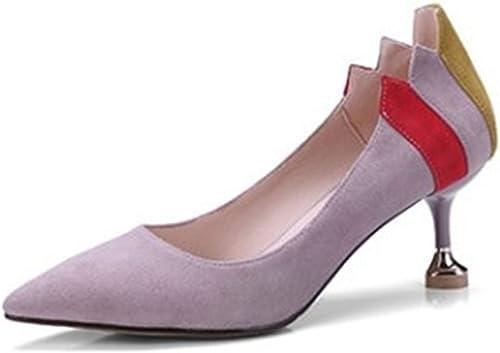 HGDR Les Pompes élégantes De Bout Pointu Des Femmes Glissent Sur Des Talons De Chaton Pour Des Chaussures De Stiletto De Bureau De Partie De Mariage