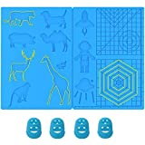 3D Pen Mat, Large Multi-Shaped Silicone 3D Printing Pen Basic Template Printing Mat with 4 Finger Protectors, Gift for 3D Beginners/Kids/Adults (16.2 x 8.2 inches)