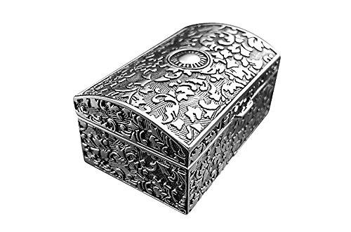 Brillibrum Design Schmuckschatulle versilbert Antikes Muster Schmuckkästchen Silber Etui für Ringe Ohrringe Ketten