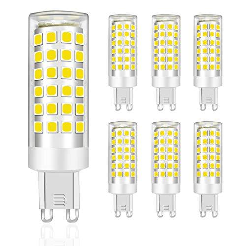 MENTA Bombillas LED G9 9W, Equivalente a 75W Halógena, Blanco Frío 6000K, 750lúmenes, 76-SMD 2835 Lámpara Bombilla, 220-240 VAC, No Regulable, Ángulo de Luz de 360°, Garantía de 2 año, Pack de 6