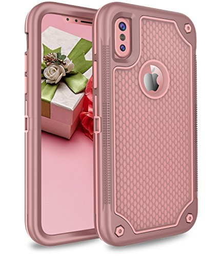 iPhone X Case, Adcoog [Honeycomb Series] Three Layers Heavy Duty Shockproof Soft Silicone Anti-Scratch Anti-Fingerprint Hard PC Hybrid Protective Case for iPhone X(Rose Glod)