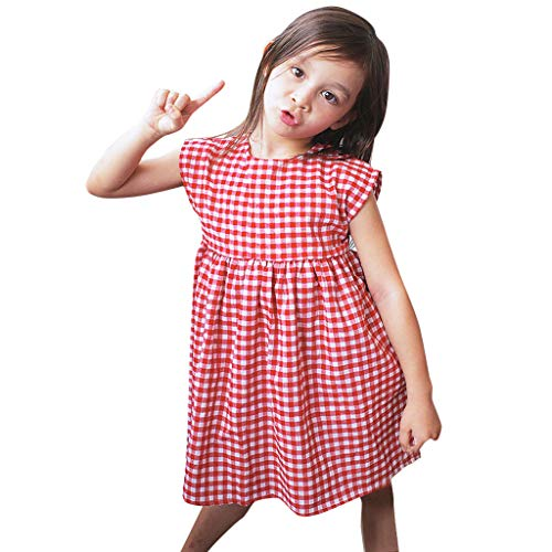 YWLINK Vestido De NiñA De 5 AñOs Sin Mangas A Cuadros Casual Princesa Vestido Verano Vestido De NiñA para Fiesta Playa Ropa De NiñOs Lindo CóModo CumpleañO Baile Rendimiento(Rojo,4-5 años/130)