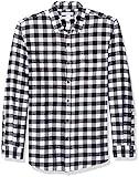 Amazon Essentials - Camisa de franela a cuadros, manga larga, ajustada, para hombre, Negro (Black Buffalo Plaid), US S (EU S)