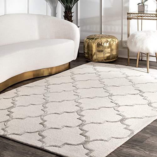 nuLOOM Teppich aus Kunstseide, marokkanische Wolle, Wolle, Nickel, 90 x 150 cm