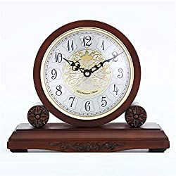 Gohbqany-HO Mantel Clock Mantel Clocks Silent Decorative Fireplace Mantle Clock Battery Operated Wood Mantel Clock for Living Room Office Home Decor (Color : Red Brown, Size : 285x16x243mm)